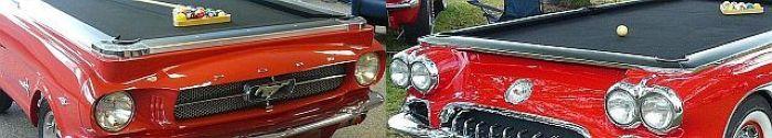 Die US Car Billardtische 1965 Ford Mustang und 1959 Corvette