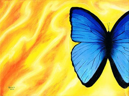 Kunstrezension: Blauer Schmetterling