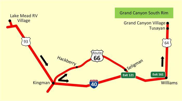 Reiseroute: Vom Lake Mead zum Grand Canyon