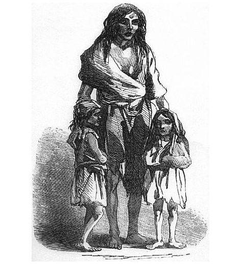 Hungernde Frau und Kinder