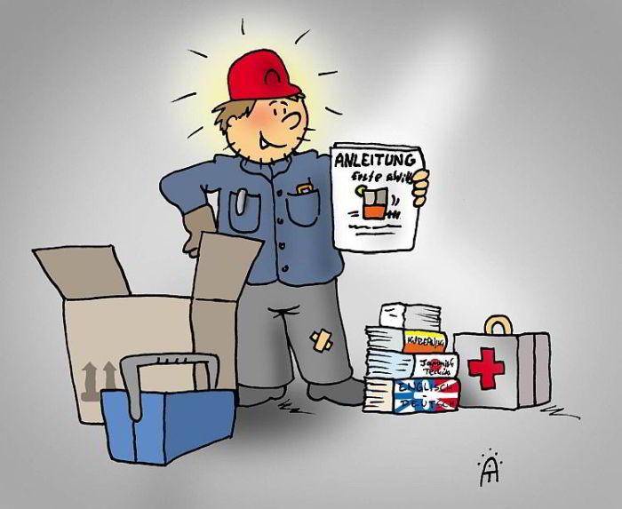 Verflixte Anleitungen Cartoon