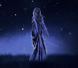 Junge Frau und Sterne