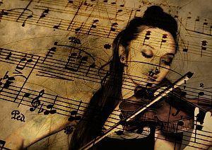 Musik: mit Violine spielen