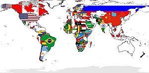 Weltkarte Fahnen