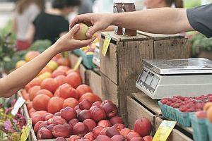 Verbraucher kauft Obst