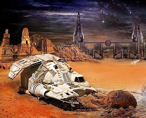 Raumschiff auf Fantasy-Planet