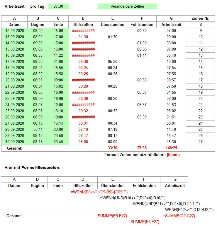 Excel: Rechnen mit negativen Zeiten