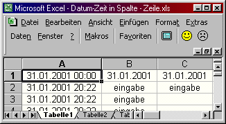 Excel: Datum in erste Zeile schreiben